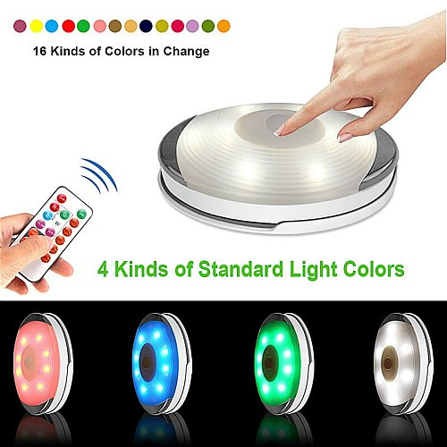 2020 Wireless Touch LED Under Cabinet Light Kitchen LED Wardrobe/Closet Battery Puck Light with Controller Dimmable Night Lamp