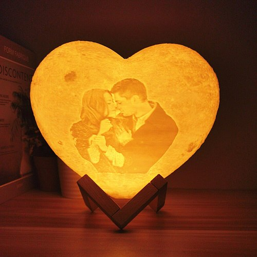 Dropship Customized Moon Lamp with Photo&Text Heart 3D Printed Moon Night Light Personalized Gifts for Birthday Holidays