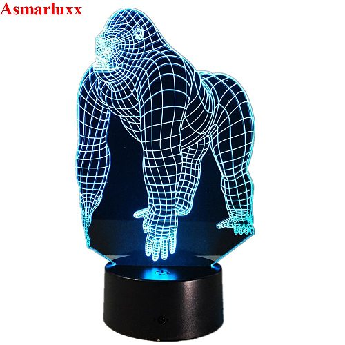 Gorilla 3D LED Lamp 7 Color Led Night Lamps for Kids Touch Led USB Table Lampara Lampe Baby Sleeping Nightlight 3d Hologram Lamp