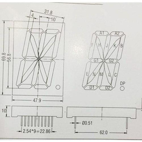2pcs 16 Segment 1Digit Bit 1-digit LED Display 2.3inch Common Anode 16-segment LED Display Module Tube RED 2.3