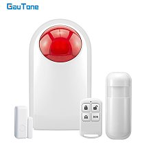 GauTone 433MHz Flashing Alarm Wireless Siren Sensor Indoor for Home Security GSM Alarm System Connect to PIR Remote Control