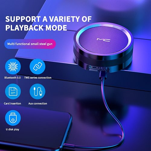 Portable Bluetooth 5.0 Speaker Bass Stereo Outdoor Sport Music Loudspeaker Support TF Card SD Card USB 2.0 Disk AUX Line-in