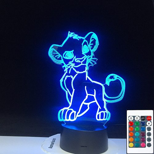 The Lion King Simba Figure Baby Night Light Led Touch Sensor Color Changing Nightlight for Kids Child Bedroom Table Lamp 3D