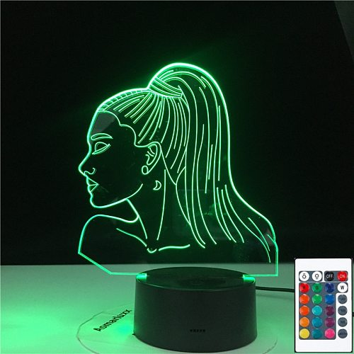 Celebrity Singer Ariana Grande Poster Cat Girl Fans Gift with 16 Colors Touch Remote Control 3D Lamp Table Nightlight Dropship