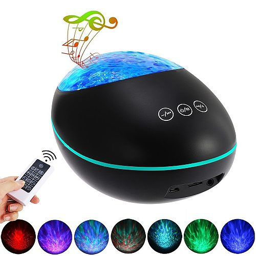Romantic Ocean Wave Projector Night Light Lamp Bluetooth Remote Control Projection Lamp Water Wave USB LED Night Light For Home