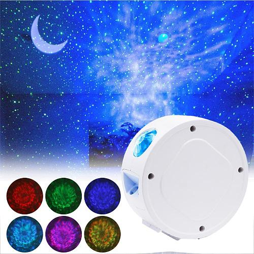 Moon Star Projector LED Night Light Ocean Wave Music Player Rotating Galaxy Luminaria For Kid Bedroom Baby Lamp Decoration 2020