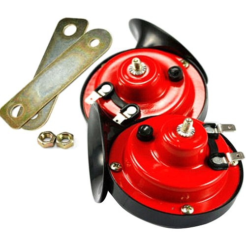 12V Car Motorcycle Bike Loud Snail Air Horn Siren For Kawasaki FOR Suzuki FOR Yamaha Red and Black