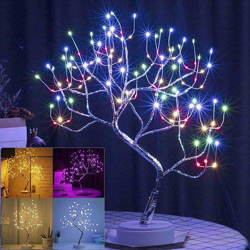 Touch Switch LED Tabletop Tree Light LED Tabletop Tree Light USB/ Battery Operated LED Tabletop Bonsai Tree Light Christmas Lamp