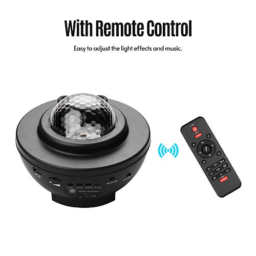 LED Night Light Star Projector Lamp Light Lighting Sound Control Night Light Home Theater with Charging Cable Remote Control