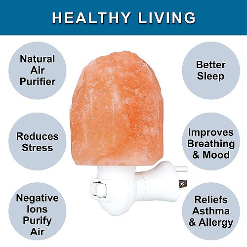 Himalayan LED Salt Lamp Natural Crystal Hand Carved Night Light Home Décor Air Purifying with Plug