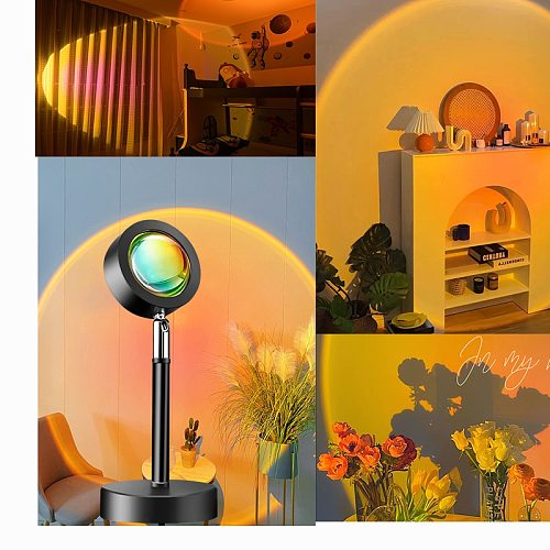 USB Sunset Red Star Projector Led Night Light Projection Bedside Desk Lamp Neon Sign Decoration Koranic Galaxy Backlight Decor