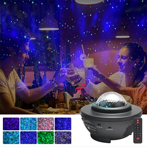 Star Projector Remote Control LED For Kid Gifts USB Bluetooth Home Decoration Starry Water Wave Ornaments Galaxy Lamp
