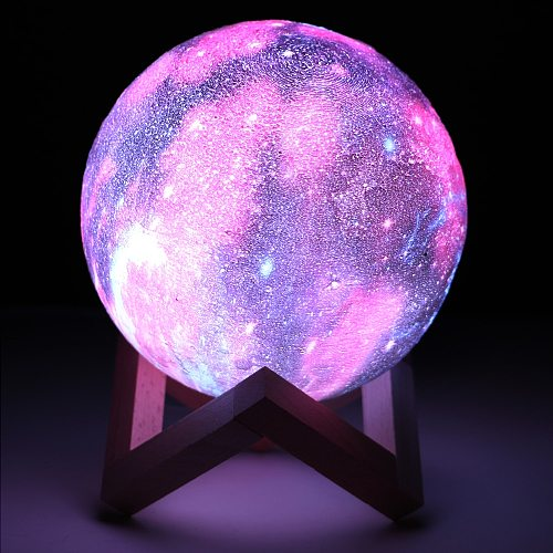 3D Print Star Moon Lamp LED Galaxy Lamp 3/16 Color Change Touch Remote Control LED Night Light Home Decor Creative Kids Gift