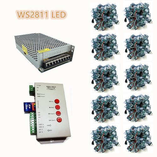 500pcs/lot WS2811 Full Color RGB String LED Pixel Module +200W Power+T1000 controller, LED Square DC 5V IP68 Waterproof