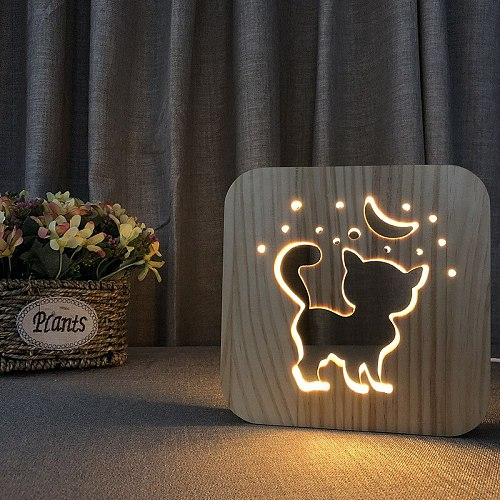 Acecorner LED USB Night Light Wooden Dog Paw Cat Wolf Head Animal Lamp Novelty Kid Bedroom 3D Decoration Table Lights Child Gift