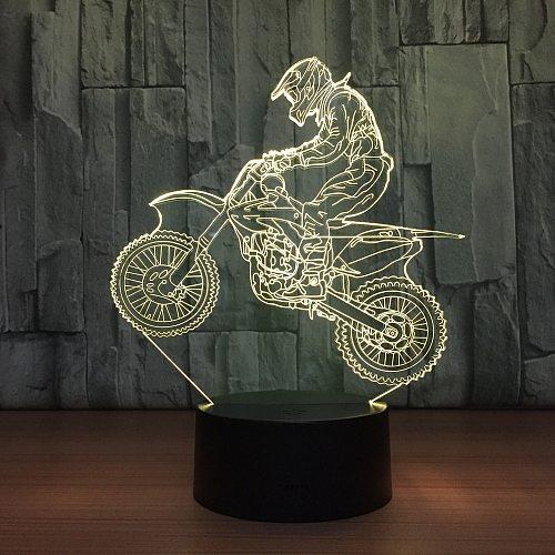 3D Motocross Bike Night Lights LED USB 7 Colors Sensor Desk Lamp as Holiday New Year Birthday Decor Gifts