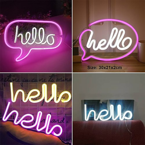HELLO Figure LED Neon Lights Hanging Table Signs Lamp Shop Greeting Decor Home Wedding Window Night Light Ornaments Gift