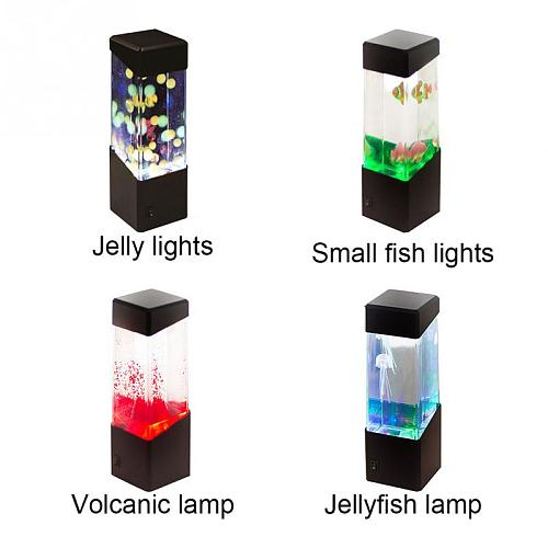 Led Jellyfish Tank Night Light Color Changing Table Lamp Aquarium Electric Mood Lava Lamp For Kids Children Gift Home Room Decor