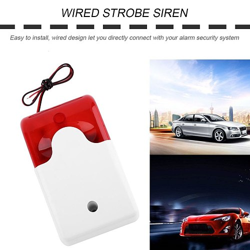 1Sets Mini Wired Home Security Alarm Strobe Siren Durable 12V Sound Alarm Strobe Flashing Red Light Sound Siren  System 108dB