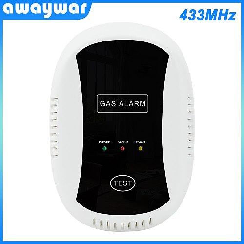 Awaywar 433MHz Gas Alarm LPG Detector Wireless Sensor For smart home Alarm System Auto Detect Built-in siren Fire prevention