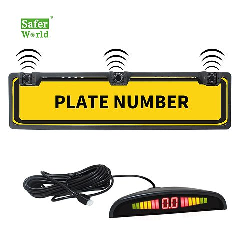 Car Parking Sensor Kit Led Wireless EU Europe License Plate Frame Reverse Radar System