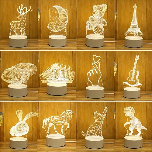 Romantic Love 3D Lamp Heart-shaped Balloon Acrylic LED Night Light Decorative Table Lamp Valentine's Day Baby Shower Gift Box