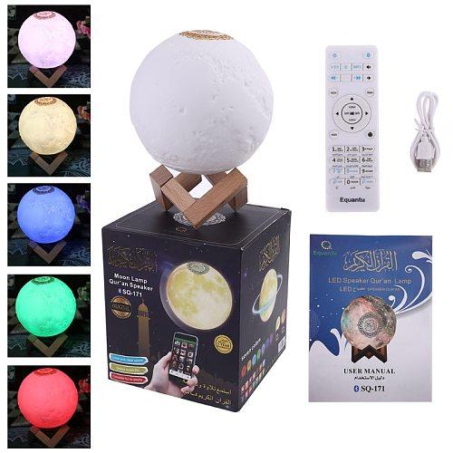 Quran Bluetooth Speaker Moon Lamp with Support Shelf APP Control Night Light with Quran Recitation Translation Loudspeaker Musli