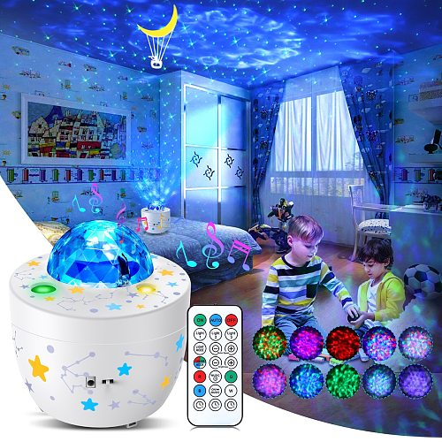 Star Sky Galaxy Projector LED Lighting Rotating Baby Kids Bedroom Moon Cradle Ocean Wave Decor With USB Remote Night Light 2021