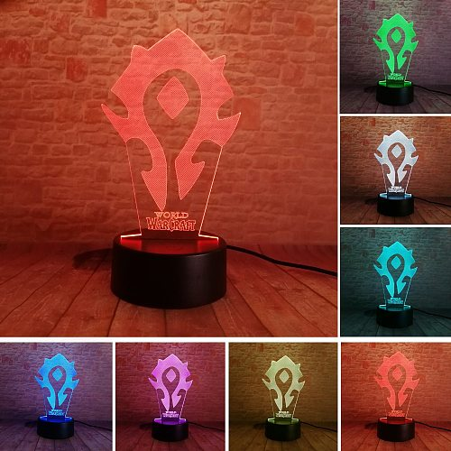 3D Illusion WOW World of Warcraft Tribal Signs 7 Color Desk Table Night Light Lamp Kiddie Kids Children Family Holiday Xmas Deco