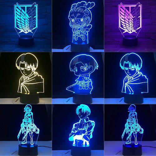 Anime Japanese Anime COLOSSAL TITAN CHIBI Attack on Titan Night Light Led MIKASA ACKERMAN CAPTAIN LEVI Children Gift Manga