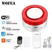 Tuya Smart WiFi Home Security Alarm System 433MHz Wireless Strobe Siren Alarm Compatible W Alexa Google Home smartlife APP