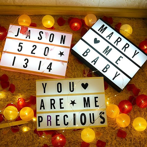 LED Combination Light Message Board Box 5V A4 A5 A6 USB/Battery Powered Night Table Desk Lamp DIY Letters Symbol Cards Decor