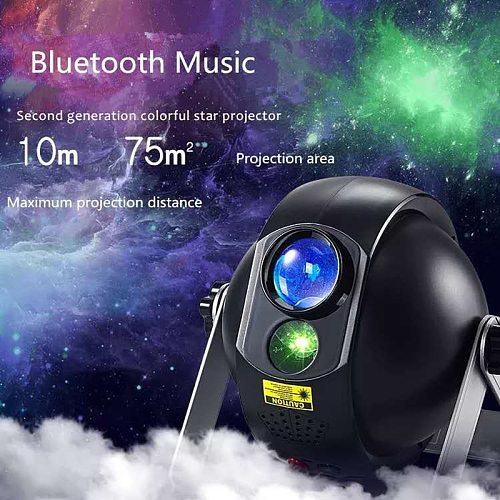 Led Colorful Night Light Star Sky Galaxy Projector Lamp With Bluetooth Speaker Bedroom Decor Remote Dimming Romantic Night Lamp