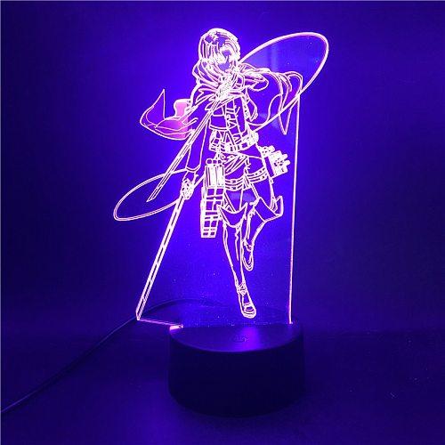 Anime Figure Attack on Titan Levi Ackerman LED Night Light Acrylic 3d Light Lamp Baby Children LED Lighting Home Bedroom Gift