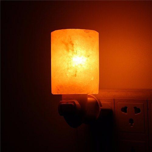 15W Cylinder-shaped Himalayan Salt Night Light Lamp Air Purifier Home Wall Decoration EU Plug