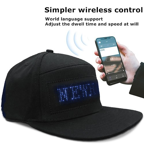RGB Fullcolor LED Message Hat Smartphone Control Text Scrolling LED Cap,Editable Pattern Display,Music Equalizer Led,Adjustable