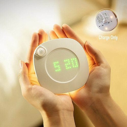 PIR Motion Sensor Night Emergency lamp Rechargeable Dimmable Time Clock Lamp USB/Battery Bathroom Aisle Lamp Home Decor