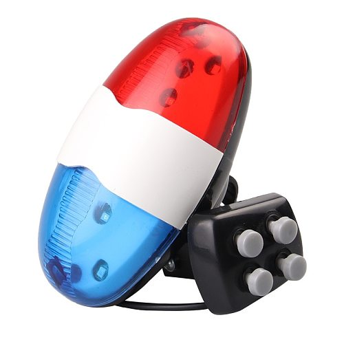 New Bicycle horn lights Bike Police Light Back Light LED flash modes 4 Loud Siren Sound Trumpet Cycling Horn Cycling Equipment