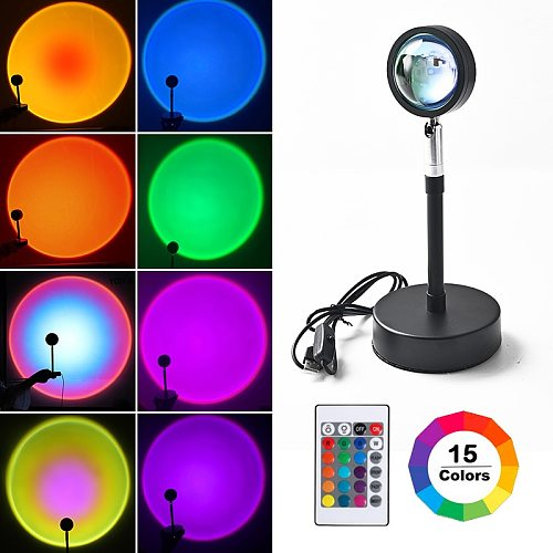 Remote Control RGB Sunset Projection Lamp Rainbow Atmosphere Led Light For Home Bedroom Shop Background Wall Decoration Lighting