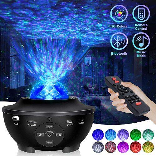 Star Light Projector LED Night Sky Twilight Galaxy Star Ocean Wave Projection Bluetooth Speaker Voice Remote Control Light