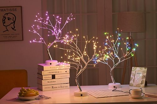 Christmas Decoration Lantern Led Copper Wire Light Tree Light Touch Switch Pearl Sky Star Usb Night Light Lamps Table Dropship