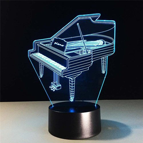 3D USB LED Lamp 7 Colors  Music Instrument Retro Piano Bulb Musician Gift Child Bedroom Decoration Elegant Night Lights RGB Lava