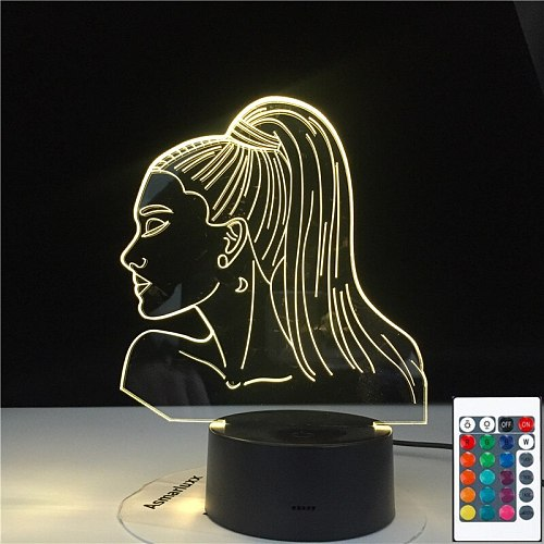 3D-4797 3D Lamp Table Nightlight Celebrity Singer Ariana Grande Poster Cat Girl Fans Gift with 7 /16 Colors Touch Remote Control