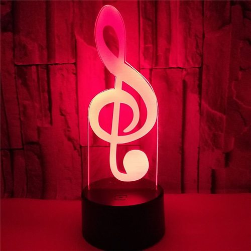 3D lamp Musical Note Visual Light LED 3D Night Light 7 Color Change Creative Bedside Lamp for Kids Bedroom Home Decor Xmas Gift