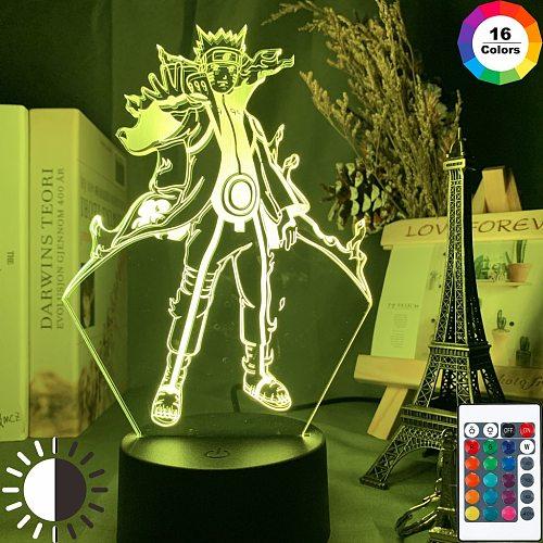 Kurama 3d Lamp for Kids Romote Anime Figure Nightlight Gift  Boys Girls Bedroom 7-16 Color Flash Led Night Light