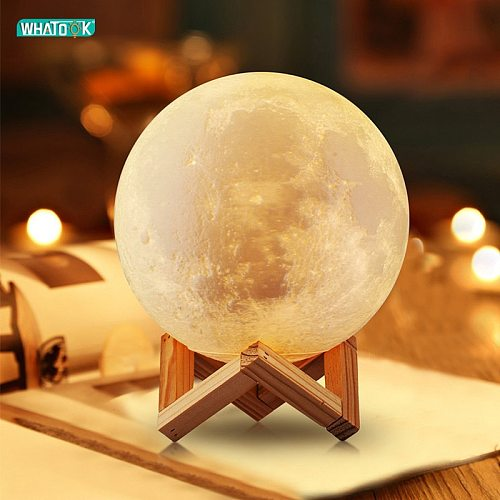Rechargeable LED Night Light 3D Print Moon Lamp Tap Touch 2 Color 3D Bedroom Light Night Lamp Decorationr Lighting Birthday Gift