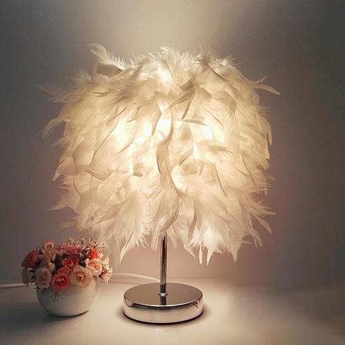 E27 Bedside Table LED Lamp Feather Romantic Living Room Bedroom Desk Night Light LED Table Lamp Light Desktop Home Decoration