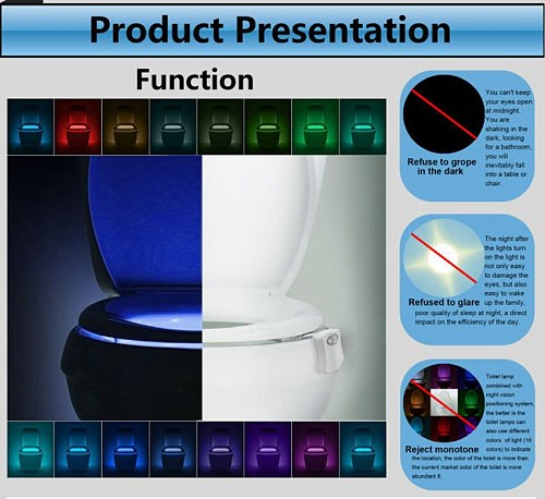 Body Sensing Automatic LED Motion Sensor Night Lamp Toilet Bowl Bathroom Light Toilet Night Light high quality