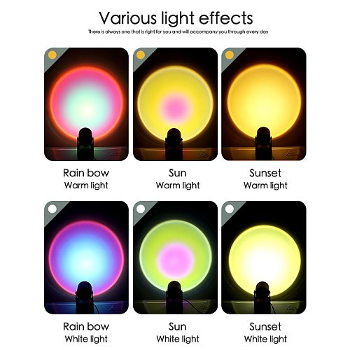 Atmosphere Led Night Light Rainbow Sunset Projector Lamp for Home Coffe shop Background Wall Decoration USB Operate Table Lamp