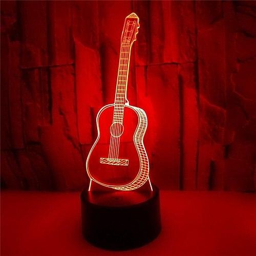 3D Optical Illusion LED guitar Night Light  7 Color Changing Night Light Room Decor Light Table Desk Lamp